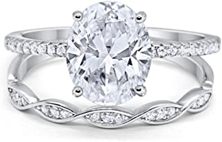 Two Piece Art Deco Bridal Set Wedding Engagement Ring Band Oval Round CZ Solid 925 Sterling Silver Choose Color