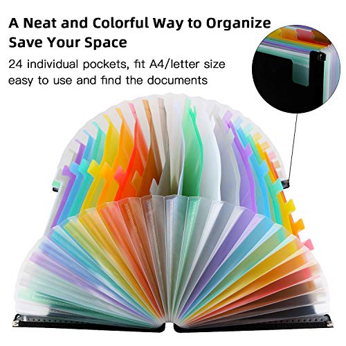 Expanding File Folders with Mesh Bag, 24 Pockets Accordian File Organizer, Expandable File Box with Cloth Edge Wrap, Portable Accordion File Organizer, Filing Box A4 Letter Size for Office, School Photo #7