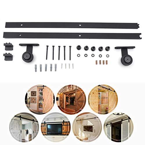 1,83M Schiebetürbeschlag Set,Stahlschiebeschiene Scheunentor Hardware Kit,Laufschienen für Schiebetür Hängeschiene Schiebetürsystem Zubehörteil