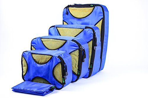 Wawaron Best Travel Packing Accessory to Organize Your Luggage/Carry On,4 Travel Cubes with Laundry Bag Blue