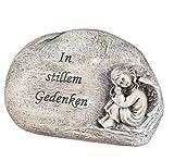 dekojohnson Grabschmuck Grabstein mit Engel und der Aufschrift In stillem Gedenken Grabdekoration Deko-Stein Grableger wetterfest antik grau 16cm
