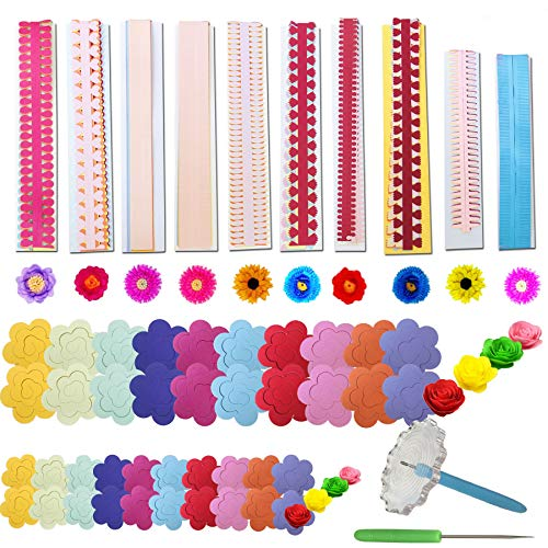 Woohome 143 PCS Paper Quilling Strips Flower Design Set Quilling Flowers Paper Handmade Flower Design Paper Art Quilling for Crafts, Home Decoration