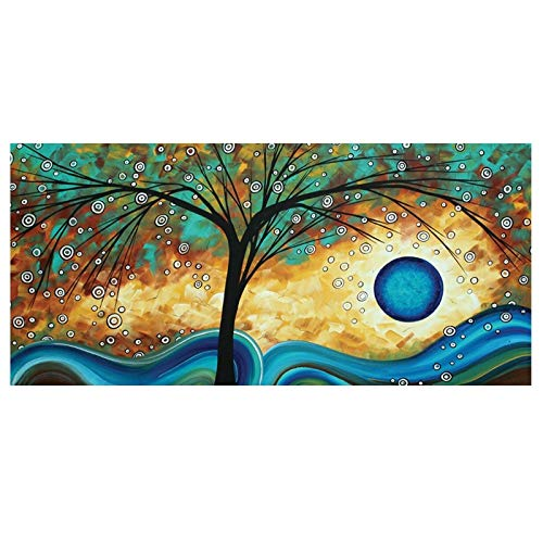 WIOIW Abstract 3D Colorful Lucky Tree Cartoon Round Leaves Sunset Landscape Canvas Painting Scandinavian Wall Art Poster Picture Living Room Bedroom Office Home Decor