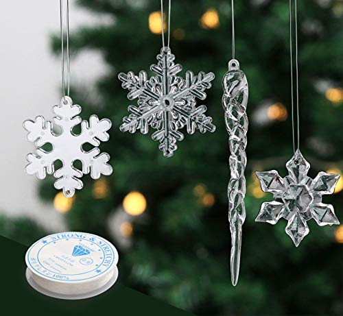 2'' Snowflake 5'' Icicle Ornaments Acrylic Crystal Christmas Tree Ornament Clear Hanging Decoration, Set of 24