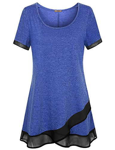 Miusey Short Sleeve T Shirt for Women Ladies's Lovely Summer Fashionable Cute Outfit Holiday Party Swing Style Relaxed Fit Home Clothes Pullovers for Womens Blue XL