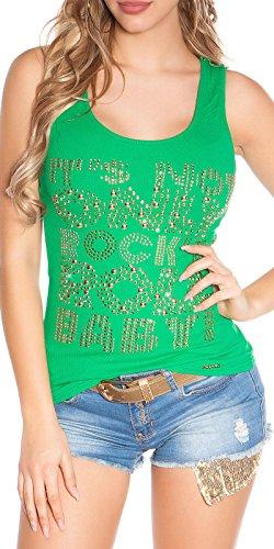 Koucla - Camiseta de tirantes para mujer (acanalada, con brillantes y remaches y tachuelas), talla 34, 36, 38, color verde X052