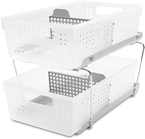 madesmart 2-Tier Organizer Bath Collection Slide-out Baskets with Handles, Space Saving, Multi-purpose Storage & BPA-...