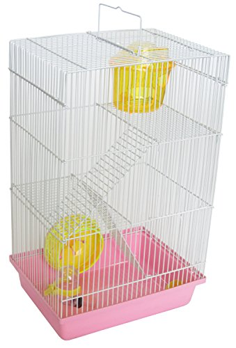 """YML Triple Stories Dwarf Hamster Cage with Small Wheel/Dish and Water Bottle/Plastic Base, Pink, 10.5"""" x 8"""" x 18"""""""