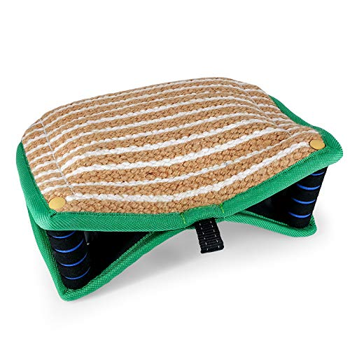 AGJIDSO Dog Bite Wedge 13.5'x10', Biting Pillow with 2 Sturdy Handles, Tough Jute Tug Bite Pad for Medium and Large Dogs, Training Equipment for Tug of War,K9,IPO,Schutzhund and Puppy Training, Green