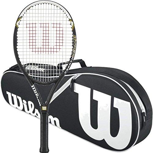 "Wilson Hyper Hammer 5.3 Strung Tennis Racquet (4 1/2"" Grip) Bundled with a Black/White Advantage II Triple Tennis Bag"