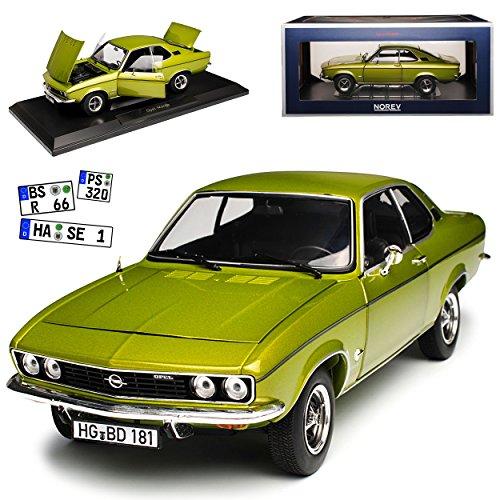 Norev Opel Manta A Lemon Grün Metallic Coupe 1970-1975 1/18 Modell Auto mit individiuellem Wunschkennzeichen