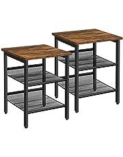VASAGLE Tables d'appoint, Lot de 2, Tables de Chevet, Style Industriel