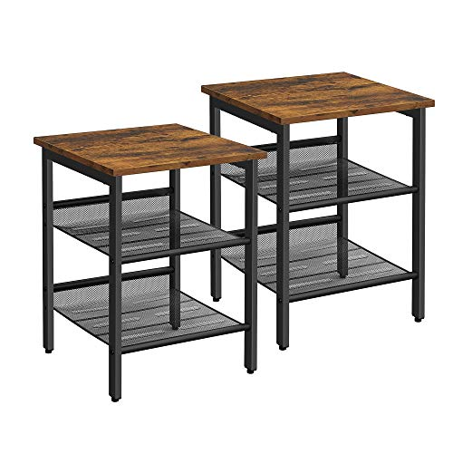 VASAGLE Tables d'appoint, Lot de 2, Tables de Chevet, Style Industriel, avec étagères grillagées réglable, pour Salon, Chambre, Couloir, Bureau, Stable, Marron Rustique et Noir LET24X