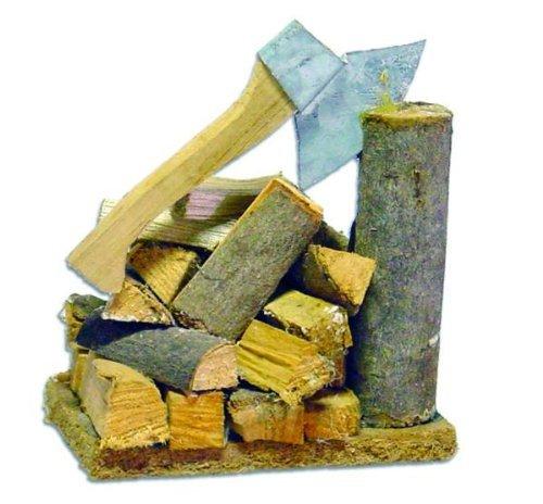 Culla, blocchetto di spezzettamento con l'ascia e legna da ardere, lunghezza 6 centimetri