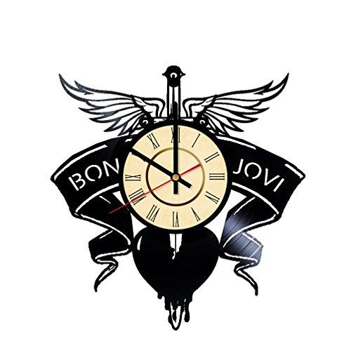 Bon Jovi Logo Clock, Vinyl Record, Music Band Wall Art, Bon Jovi Wall Accessories, Bon Jovi Decor, Modern Art, Bon Jovi Gift