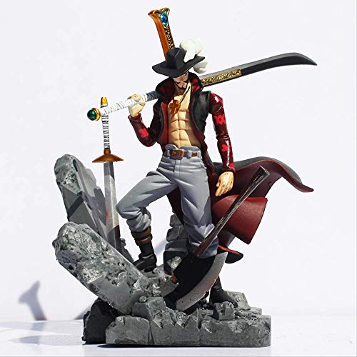 Missyou Big One Piece Figure Toy Dracule Mihawk Model Doll with Sword Anime for Children Action Figure18Cm, Giocattolo in PVC da Collezione per Bambini Regali