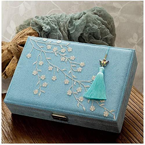 WNN URG - Joyero de franela de dos capas para joyas, organizador de exhibición con cerradura estilo chino bordado Joyero para mujer (azul) Joyero decorativo URG (color: A)