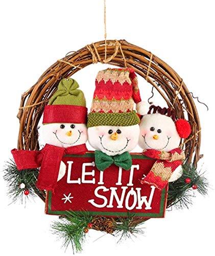 Qianning Weihnachten große Massivholz Rattan Tür Kranz Kleiderbügel niedlichen Weihnachten Element Puppe Tür-2