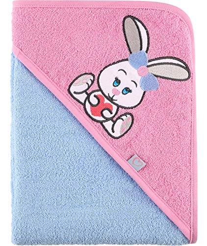 Be Mammy Kapuzenhandtuch Babyhandtuch aus Baumwolle Oeko-Tex Standard 100 100cm x 100cm BE20-240-BBL (Hellblau - Hase)