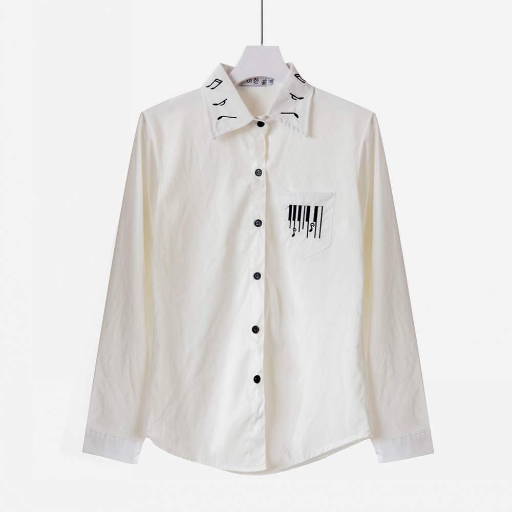 TTKANG Camiseta De Mujer Blusa Blanca Estilo Preppy Nota Musical Bordado Cuello Boca Abajo Camisa Blanca Camisetas De Manga Larga Casual S-2Xl: Amazon.es: Deportes y aire libre
