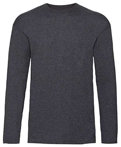 Fruit of the Loom Mens Long Sleeve Value T Shirt Dark Heather XL