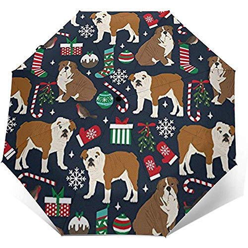 English Bulldogs Xmas Holiday Travel Umbrella Sun Umbrella-Lightweight Windproof Sunscreen Umbrella-Auto Open and Close Button