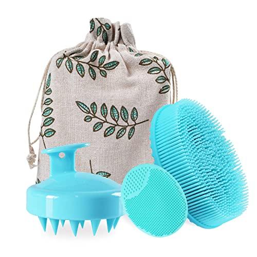 Shampoo Brush Bath Brush Kit Including Hair Scalp Massager Brush,Silicone Shower & Bath Brush Gentle Scrub Skin Exfoliation,Pore Cleaning Pad for Men Women Kids(Green)