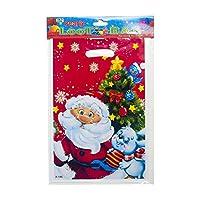ハンドルプラスチック食品収納ポーチギフト包装袋付き10個使い捨てクリスマストリートバッグ