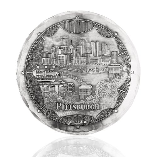 Handmade Pittsburgh Bridges Cityscape Coaster by Wendell August Forge