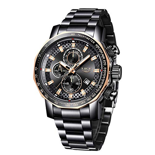 Men's Watches,LIGE Watches Men Military Sports Waterproof Stainless Steel Wristwatch Men Business Dress with Date Analog Quartz Black Watch Man