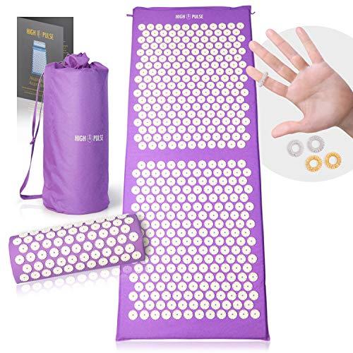 High Pulse® XXL Akupressur Set + 5 Ringe + Poster – Extra Lange Akupressurmatte & Kissen stimuliert die Blutzirkulation und löst Verspannungen (Violett)