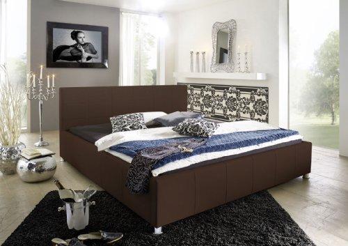 SAM Design Polsterbett 160x200 cm Katja, braun, pflegeleicht Bett aus Kunstleder, abgestepptes Kopfteil, Chrom-Füße