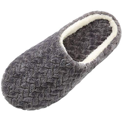 SAGUARO Autunno Inverno Pantofole Uomo Donna Morbido Antiscivolo Scarpe da Casa Peluche Caldo Cotone Home Scarpe, Grigio 41/42 EU
