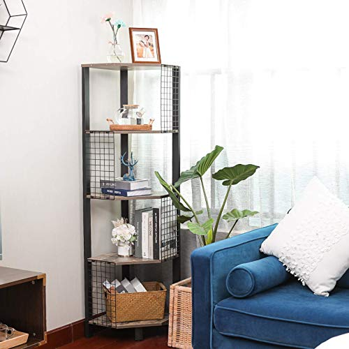 X-cosrack 5 Tier Corner Shelf with Grid Plate Industrial Corner Storage Display Rack Small Bookcase Plant Stand for Bedroom Living Room Bathroom Kitchen Home Office 565 Inch Tall Rustic Brown