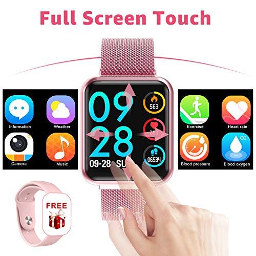 Smart watch, full touch Pressione sanguigna Cardiofrequenzimetro Sleep Tracker Salute Smartwatch uomo donna per IOS Android (Rosa)