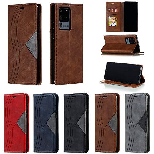 Hülle Handyhülle for Galaxy S20 Ultra, Premium Leder Flip Schutzhülle [Standfunktion] [Kartenfächer] [Magnetverschluss] lederhülle klapphülle für Samsung Galaxy S20 Ultra - TTYKB040225 Braun