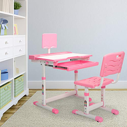 JAXPETY Kids Functional Desk and Chair Set, Ergonomic Student Workstation Table Height Adjustable Children School Study Desk w/Large Storage Book Stand and Bag Hook, Pink (Girl-Style)