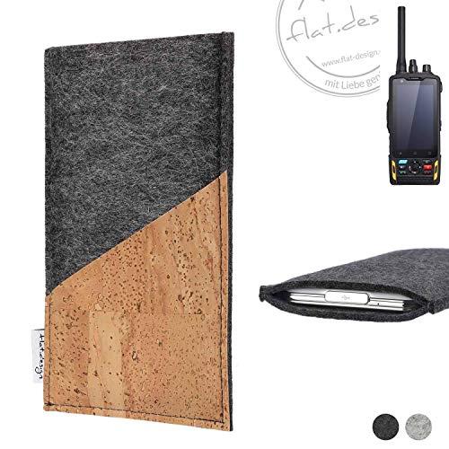 flat.design Handy Hülle Evora für Ruggear RG760 handgefertigte Handytasche Kork Filz Tasche Case fair dunkelgrau