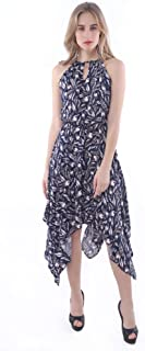 Palm Lagoon Revolve in Palm Leaf Blue White Loose Fit Sleeveless Floral Midi Dress