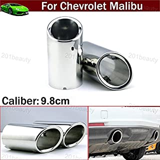 2pcs New Car Chrome Stainless Steel Exhaust Tail Pipe Tip Tailpipe Muffler Cover Trim Emblems Silver Color Custom Fit for Chevy Chevrolet Malibu 2012 2013 2014 2015 2016 2017 2018 2019 2020