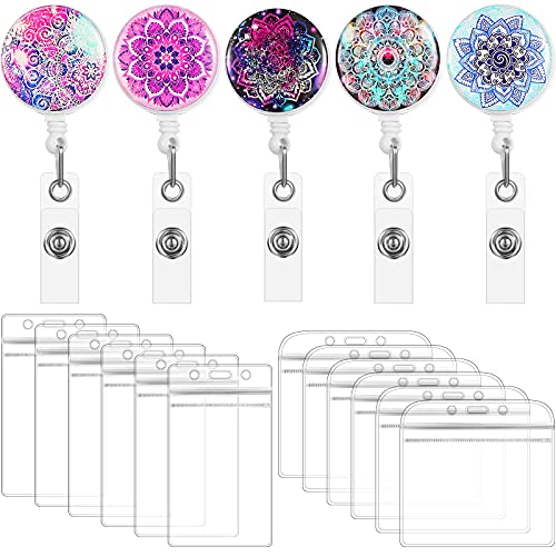 5 Pieces Retractable Badge Holder Mandala Flower ID Badge Reels with Clip and 10 Pieces Clear ID Card Holders for Office Worker Doctor Nurse Teacher Student
