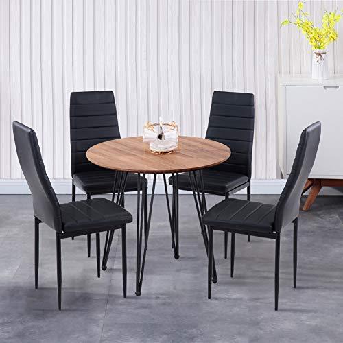 GOLDFAN Esstisch mit 4 Stuhl Essgrupp Runder Holztisch und 4er Kunstlederstuhl Wohnzimmertisch für Esszimmer Küche