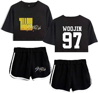 Flyself Girls Kpop Stray Kids Crop Top T-Shirt Shorts Set Yellow Wood Printed Tracksuits Casual Summer Short Sleeve Crop T...