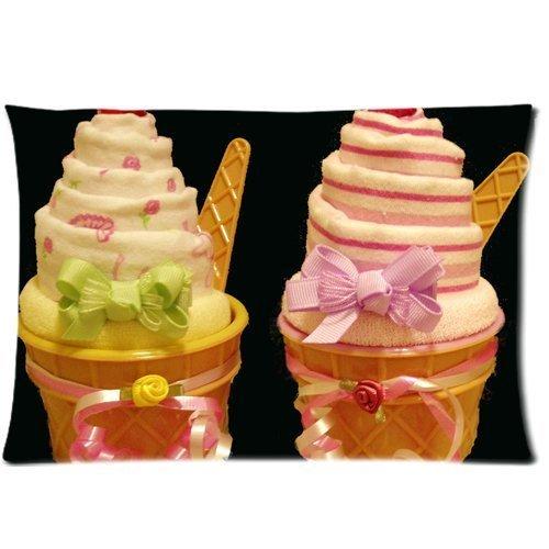 Funny Ice Crème Housse d'oreiller zippée 50,8 x 76,2 cm