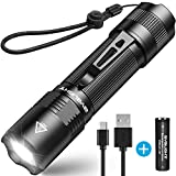 Rechargeable Flashlight, BYB F18 LED Tactical Flashlight, 800 Lumens Super Bright Pocket-Sized CREE LED Torch with Clip, IP67 Water Resistant, 5 Modes for Camping, Hiking, Emergency & EDC (Black)