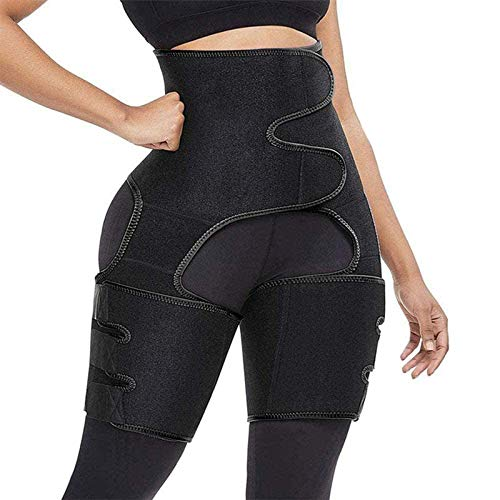 AOUVIK Sweat Wrap Saunagürtel für Bauch, 3 in 1 Taille und Oberschenkelschneider Doppelkompressionsgürtel, Beinstütze Butt Lifter Workout,Schwarz,XL