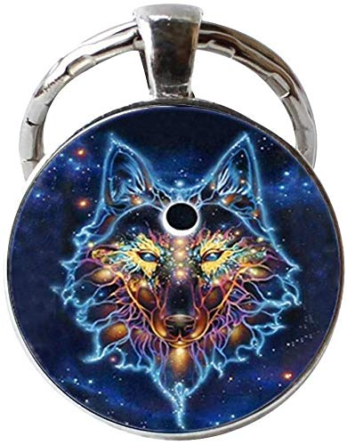 Celtic Wolf Keychain Wild Animal Jewelry Vintage Charm Jewelry Glass Photo Jewelry