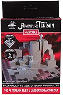 Monster Adventure Terrain - 100pc Unpainted Tiles & Ladders Expansion Set - Fully Modular and Stackable 3-D Tabletop World...