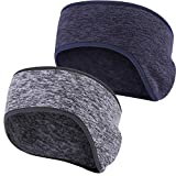 Obacle Headband Ear Warmer Running Fleece Headband Non Slip for Girl Women Men (Gray Dark Blue, 2...