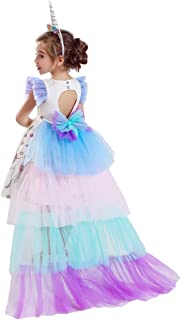 Girls Princess Party Dress, Rainbow Tutu Train & Headband